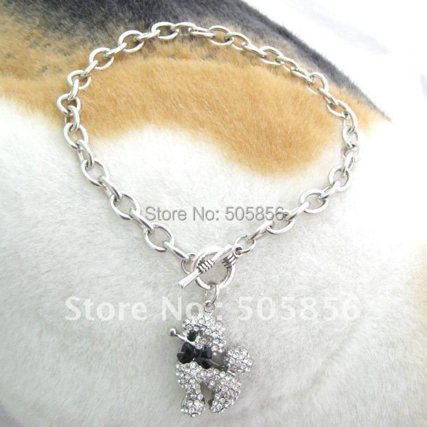 Pet pes řetězy náhrdelník límec drahokamy pudl kouzlo přívěsek pet štěně šperky 3 velikosti