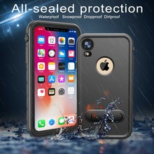 hot deal buy for iphone xr case ip68 waterproof case for iphone xr cover iphonexr diving underwater pc + tpu kickstand cover for iphone xr