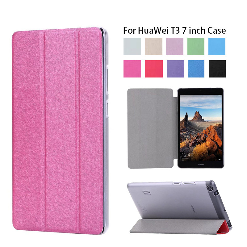 Slim Folding Case cover For Huawei MediaPad T3 7 WIFI BG2-W09 Flip Cover For Huawei MediaPad T3 7.0 Wifi case faux leather 7 0for huawei mediapad t3 7 0 case for huawei mediapad t3 7 3g bg2 u01 tablet cover case
