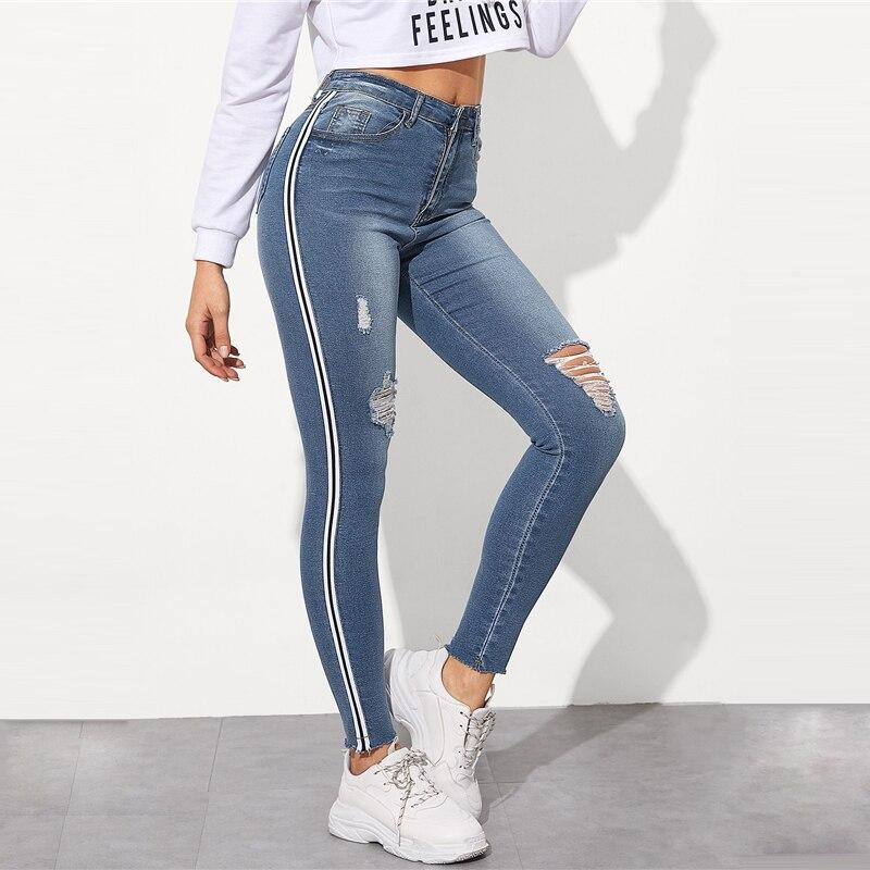 SweatyRocks Stripe Side Ripped Skinny Jeans Leisure Stretchy Long Denim Pants 19 Spring Women Streetwear Casual Blue Jeans 14