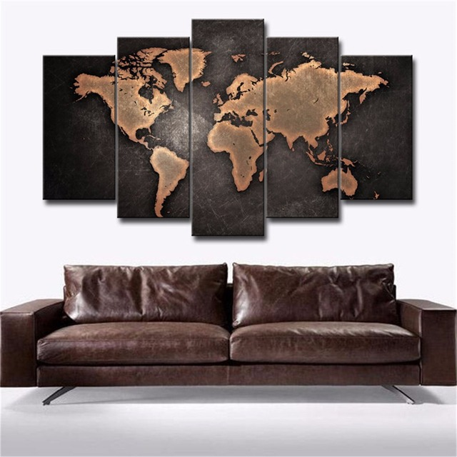 5 panels waterproof canvas painting vintage black world map hd print 5 panels waterproof canvas painting vintage black world map hd print home wall hanging art oil gumiabroncs Images