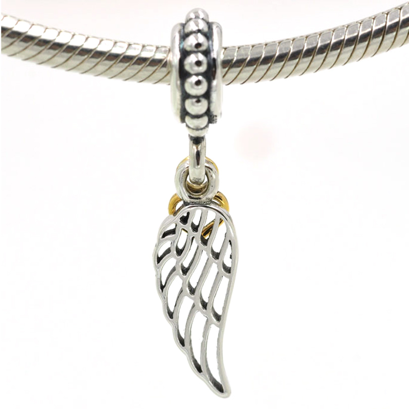 Sterling Silver 925 angel wing clip on charm for branded bracelet or necklace