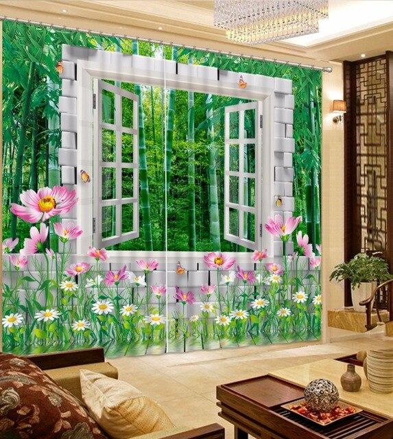 US $56.17 59% OFF Grüner Bambus Vorhang Kundenspezifische Moderne  landschaft 3D Vorhänge Für wohnzimmer Schlafzimmer Polyester/baumwolle  Vorhang ...