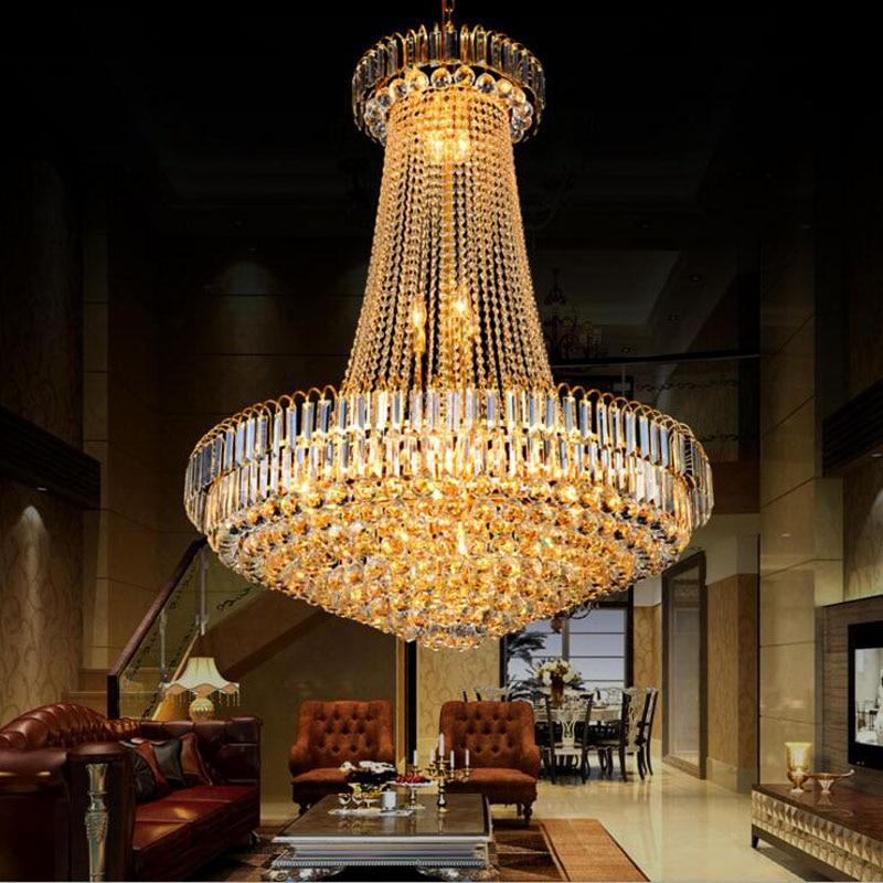 Penthouse living room crystal chandelier hotel lobby lighting stair chandelier villa crystal chandelier lighting fixture led villa hotel lobby crystal lamp european style jump floor building long chandelier