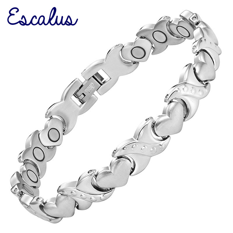 Escalus Ladies Heart Wristband Jewellery Bracelet Gift All Silver 19pcs Magnets Bangle Magnetic Stainless Steel Charm
