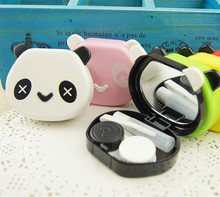 Panda contact lenses box for women plastic eyewear case container cute contact lens case AM6001(China (Mainland))