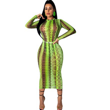 2019 Women Party Club Dress Summer Sexy Sheer Bandage Bodycon Long Sleeve Neon Green Snake Print Transparent Mesh