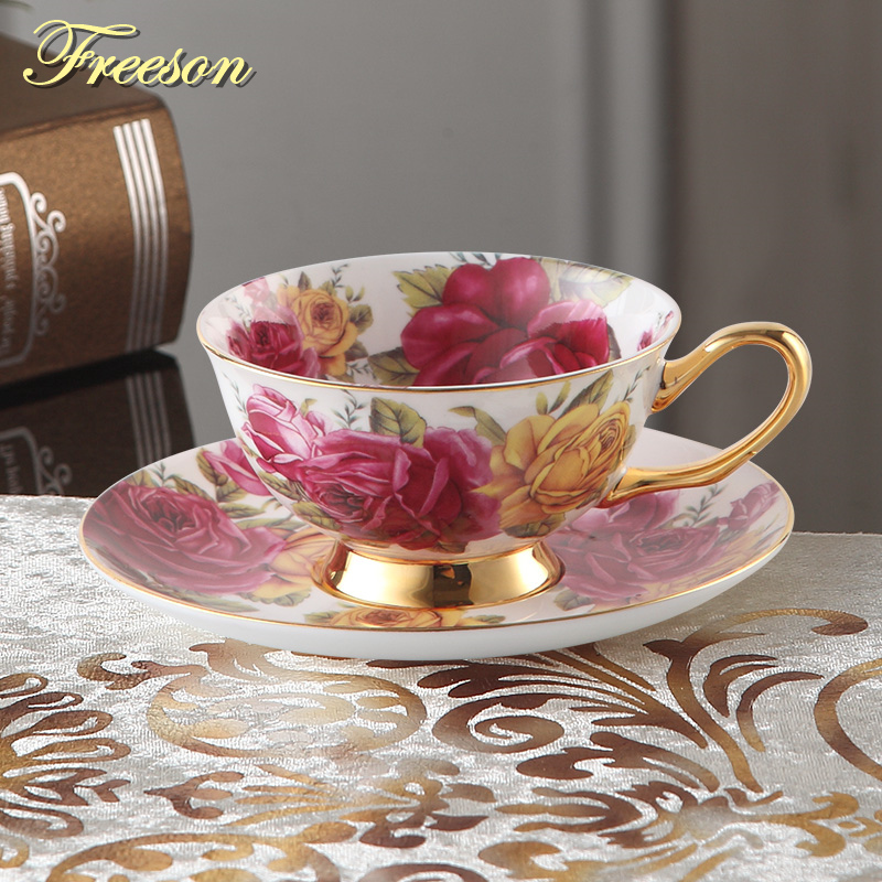 Pastorale Rose Bone China Teetasse Untertasse Löffel Set 200ml Europa Advanced Porzellan Kaffeetasse Cafe Keramik Floral Teetasse