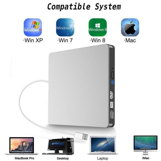 USB3.0 móvel de desktop notebook unidade óptica gravador de dvd externo gravador de dvd drive óptico externo portátil de prata branco