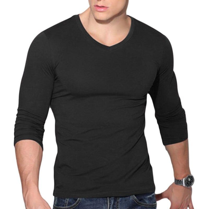 ITFABS новейшее поступление Модная Мужская сексуальная рубашка с длинным рукавом и v-образным вырезом Повседневная Приталенная футболка Топ черный красный белый цвета - Цвет: Черный