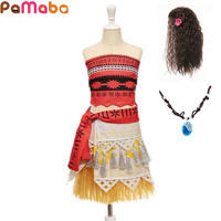 PaMaBa Children S Cute Moana Cosplay Costume Summer Beach Tops And Skirts Set For Little Girls