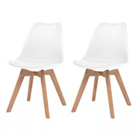 VidaXL 2pcs Modern Dining Chair Leatherette Solid Wood Minimalist Computer Office Chair Casual Home Back Seat Coffee Shop Chair