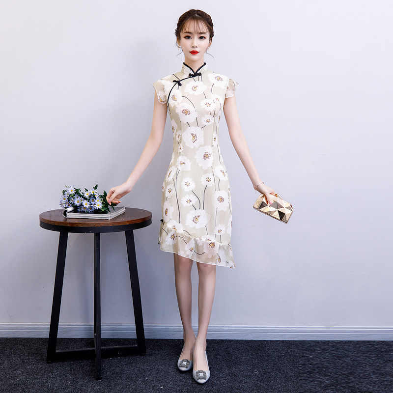 Green Summer Chiffon Print Cheongsam Elegant Women' s Handmade Button Dress Short Sleeve Knee Length Sexy Short Dress S-XXL