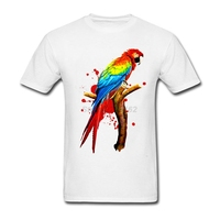 Adult Man Roll Creation Shirts With Parrot Pet Macaw Exotic Bird Screw Neck Mens Tee Casual