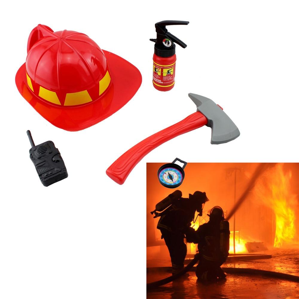 Firman Fire Rescue Helmet Hat Simulation Children's Pretend Toy Extinguisher Firefighter