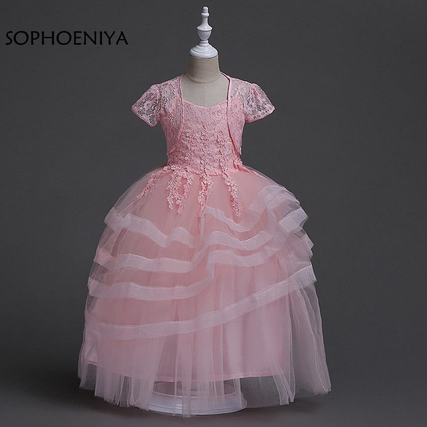 New arrival Ball gown Pink   Flower     Girl     Dresses   2018 Vestido longo Cheap   flower     girl     dress   with Jacket Vestido daminha