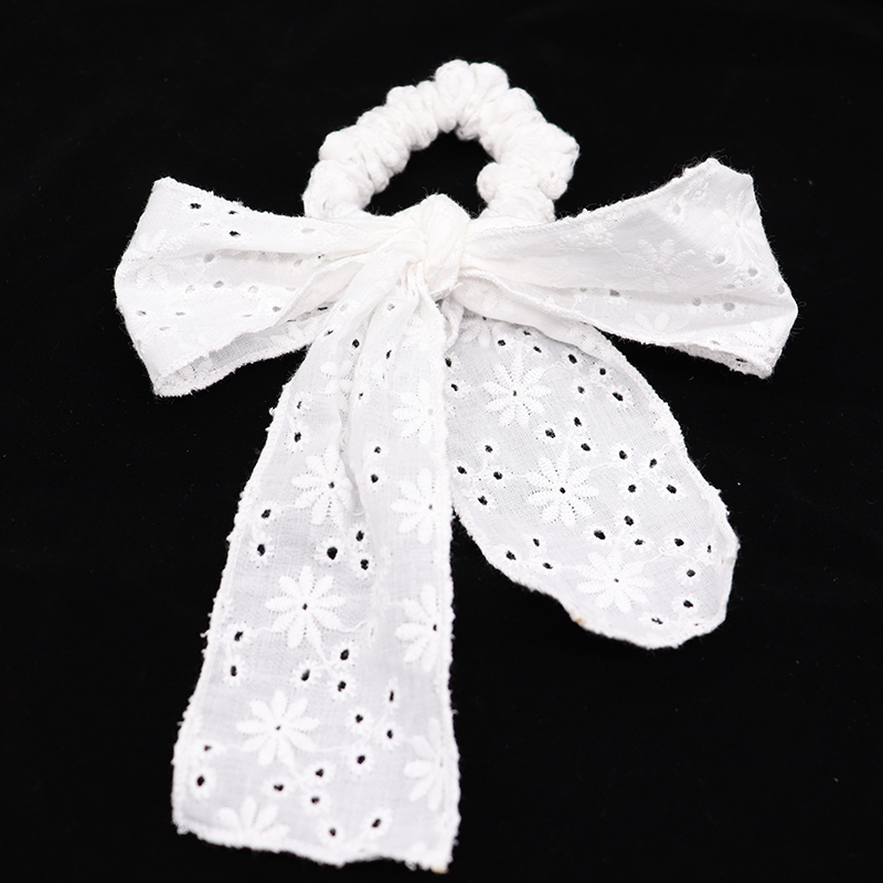 New Arrival Fashion Women Summer White Lace Embroidery Bow Hair Bands Hair Scrunchies Girl's  Accessories  Ponytail Holder