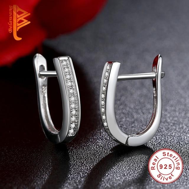 BELAWANG 2018 di Nuovo Modo di Best Amici 925 Sterling Silver Orecchini di Figura di U Orecchini con perno per Le Donne Bianco Zircone Cubico Orecchini