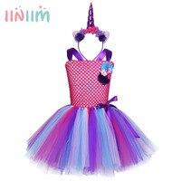 Teen Flower Girls Dress Rainbow Princess Unicorn Dress With Headband Vestidos Costume Summer Cute Dress For