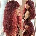 4 cores mulheres milho Perm Fluffy longa peruca de cabelo encaracolado franja oblíqua peruca HB88