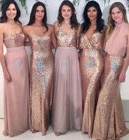pink long bridesmaid dresses custom made sequined