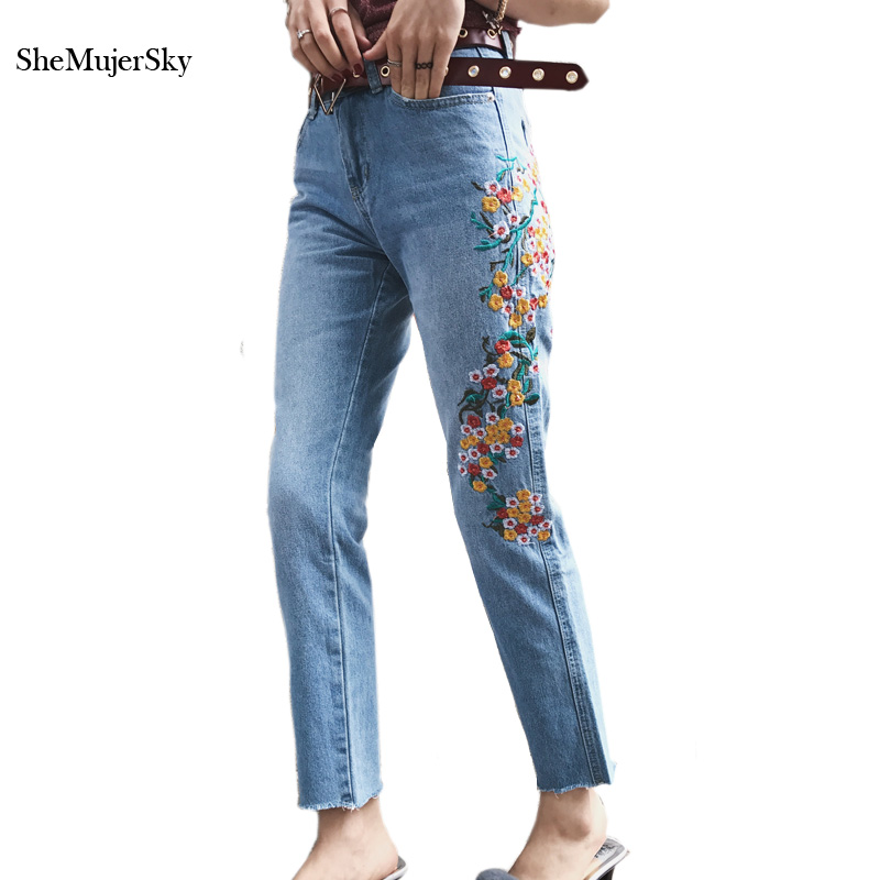 SheMujerSky Women Jeans with Embroidery with High Waist Fashion Pants 2017 Jeans Femme