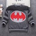2016 de otoño de la marca ropa de los niños del muchacho de la manera suéter grueso de doble capa 100% de algodón de alta calidad Batman cartoon knit tops