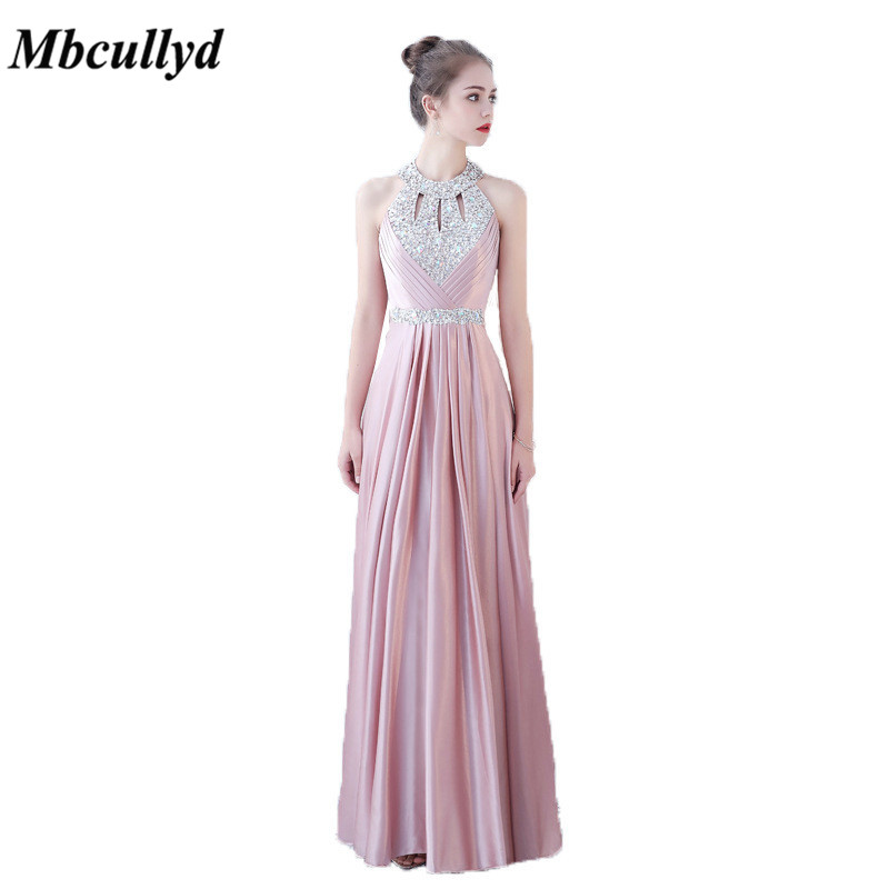 Mbcullyd Off Shoulder Long Bridesmaid Dresses For Women 2019 Wholesale  Price Pink Backless Satin Maid Of a60cfef6b013