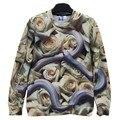 Fashion Men/women's 3d sweatshirt Novelty funny print snake and white roses flower men hoodies tops