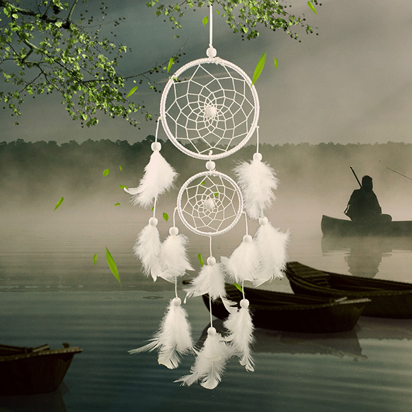 Dream Catcher Group Home Dream Catcher white two loop Feather Pendant Home wall Hanging 15