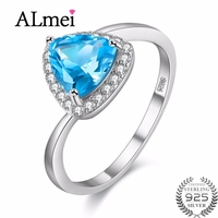 Almei Certificate 925 Sterling Silver Ring Topaz Blue Diamond Wedding Rings For Women Bisuteria Mujer Sale