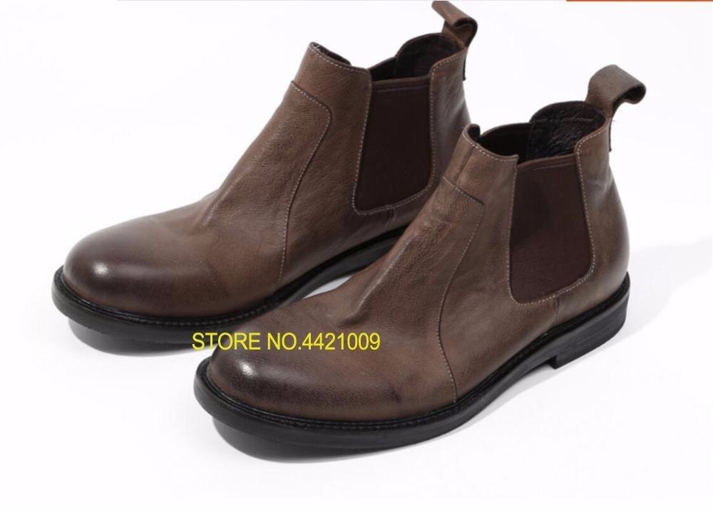 Military Ankle Boots Man Oxfords Genuine Leather Slip On Motorcycle Boots Vintage 2018 Winter Runway Combat Boots Size 44Military Ankle Boots Man Oxfords Genuine Leather Slip On Motorcycle Boots Vintage 2018 Winter Runway Combat Boots Size 44
