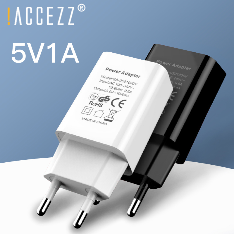 !ACCEZZ Mobile Phone Charger 5V 1A Wall Charger For iPhone X 8 7 <font><b>Plug</b></font> EU <font><b>Adapter</b></font> For <font><b>Samsung</b></font> S9 Xiaomi mi 8 Huawei USB Charger image