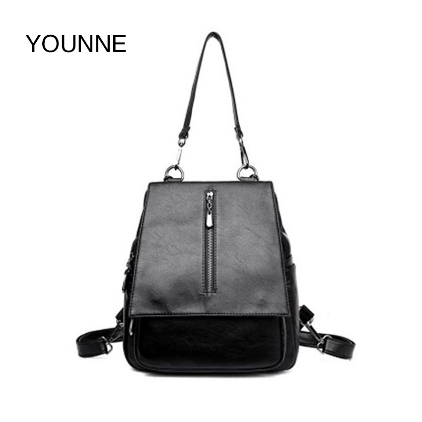 YOUNNE Women Fashion Backpack Female Daily Solid Color Shoulder Bags Lady Zipper Bag Casual Rivet Backpack School Bags for Girl