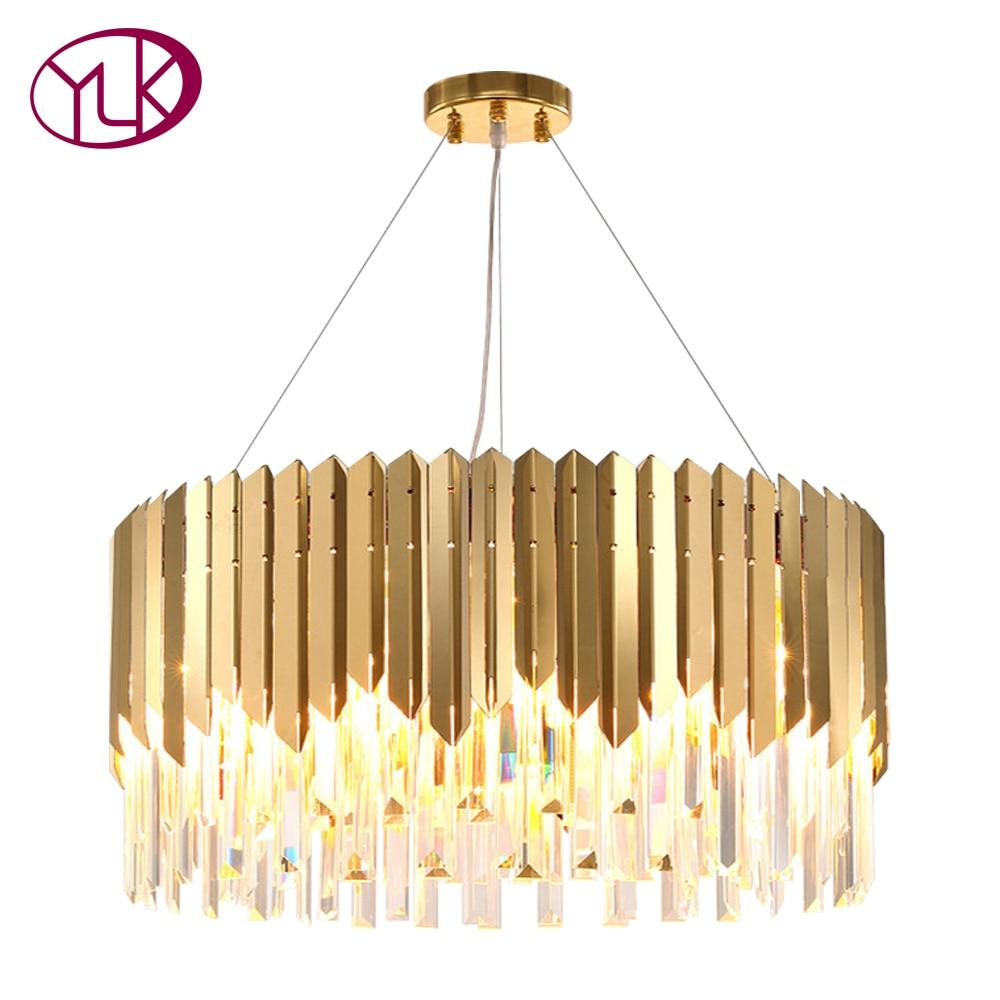 Youlaike Modern Crystal Chandelier For Living Room Luxury Foyer Hanging Gold Lighting Fixture Restaurant LED Cristal Lustres