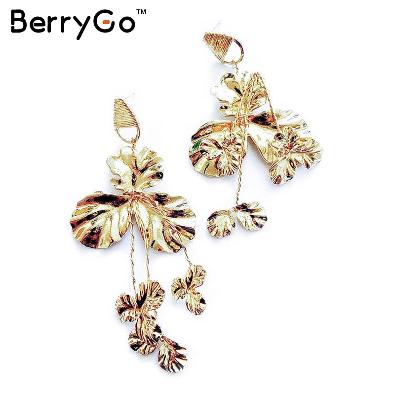 cd1a89078f Aliexpress.com : Buy BerryGo Fashion golden floral accessories women  earrings Vintage trending styles silver earrings Winter party wear  accessories ...
