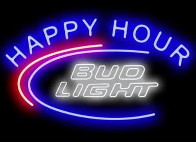 Custom Bud Light Happy Hour Glass Neon Light Sign Beer Bar