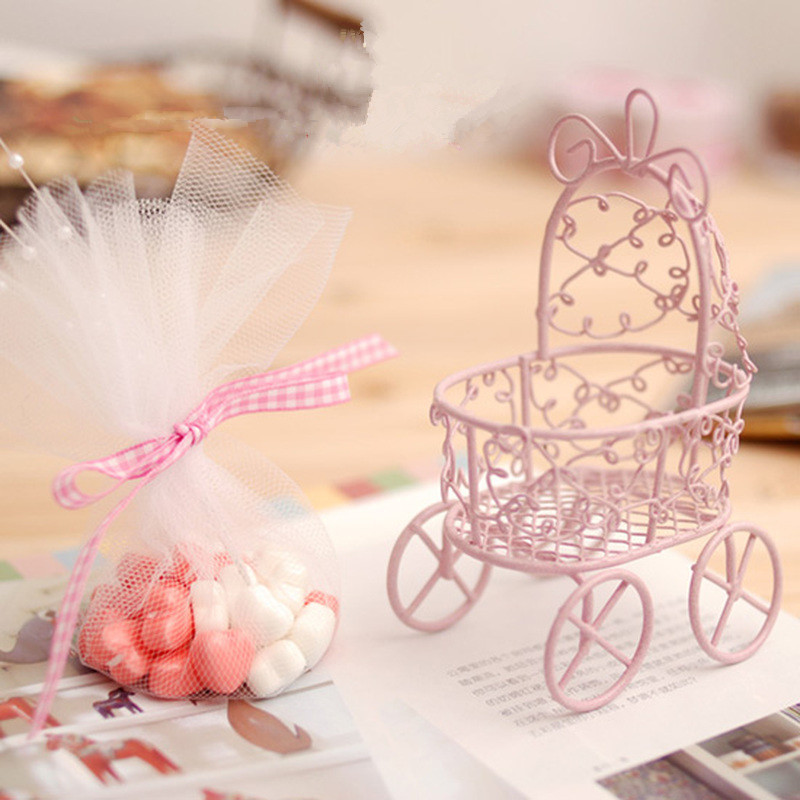 Free shipping white/ pink iron box baby shower candy gift wedding Party  with organza bag , 10/15/30pcs/lot