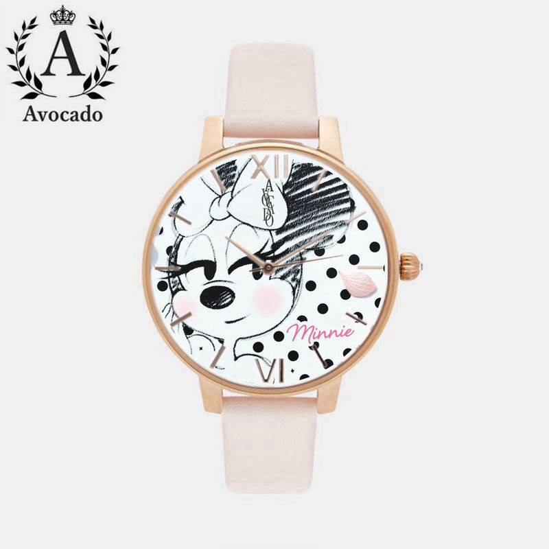 Avocado fashion minnie mouse girls Ladies women crystal Watch kids children cartoon watches Belt Rose Gold Quartz simba пупс minnie mouse