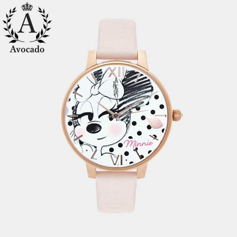 Avocado fashion minnie mouse girls Ladies women crystal Watch kids children cartoon watches Belt Rose Gold Quartz