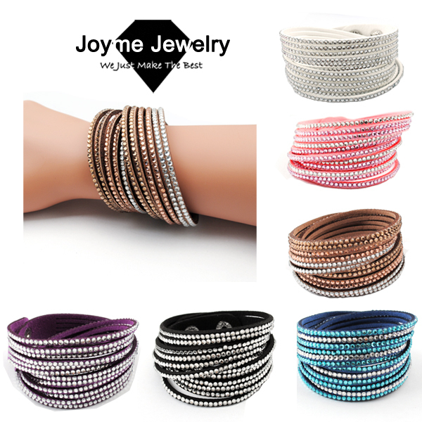 New Multilayer Crystal Wrap Bracelet Rhinestone Bling Slake Deluxe Double Leather Bangle Pulseiras Femininas In Bracelets From Jewelry