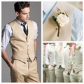 New Arrival Groom Vests Khaki Groomsmens/Best Man Vest Custom Made Size and Color Six Buttons Wedding/Prom/Dinner Waistcoat