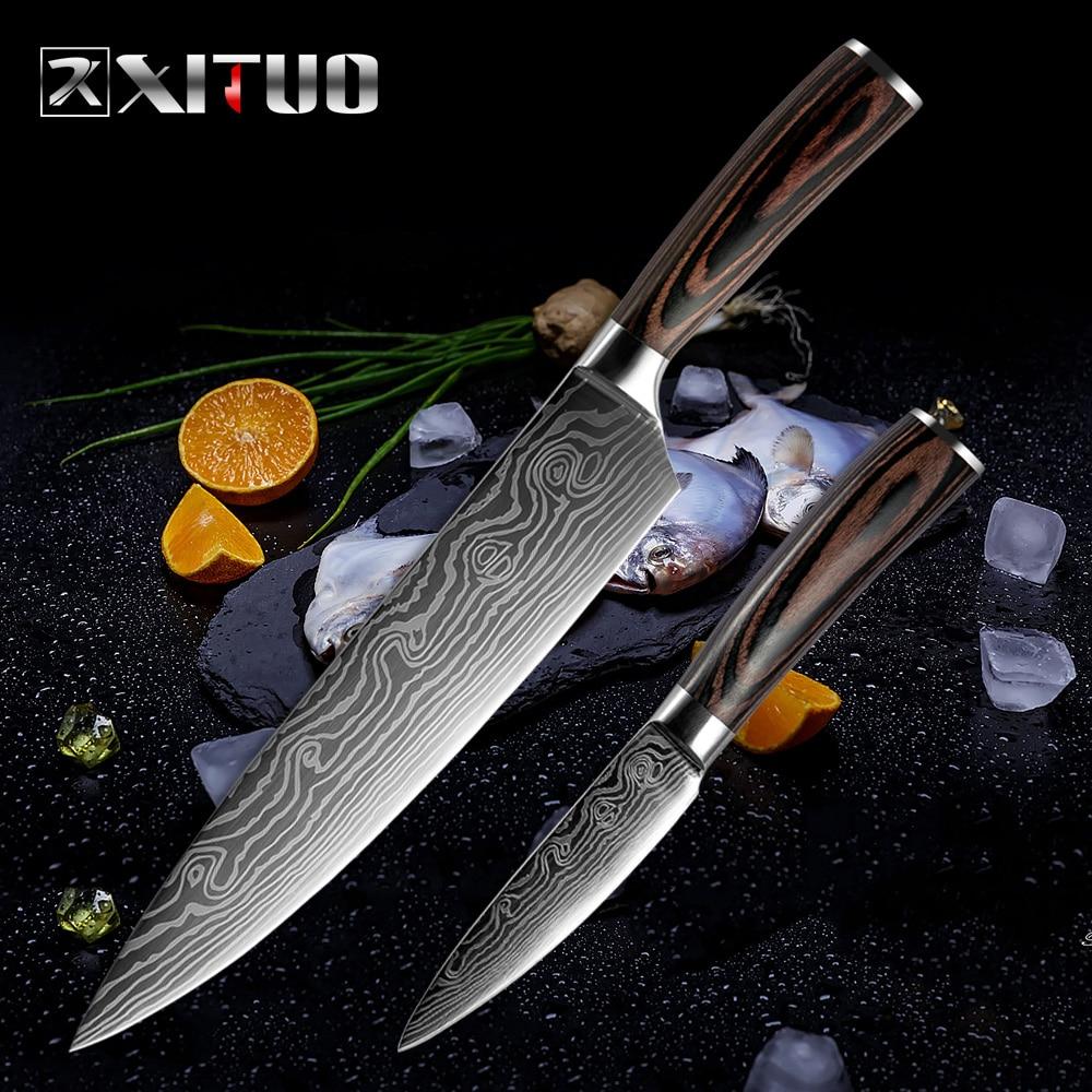 XITUO լավագույն 2 հատ խոհանոցային դանակների հավաքածու Japaneseապոնական Դամասկոսի պողպատե ձևավորման խոհարար դանակ սահմանում է Cleaver Paring Santoku- ի կտրող օգտակար գործիքներ