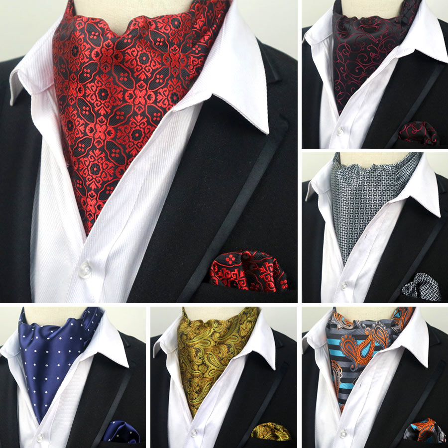 YISHLINE Fashion Men's 100% Silk Ascot Cravat Tie & Handkerchief Set Polka Dots Pocket Square Tie Sets For Wedding Party