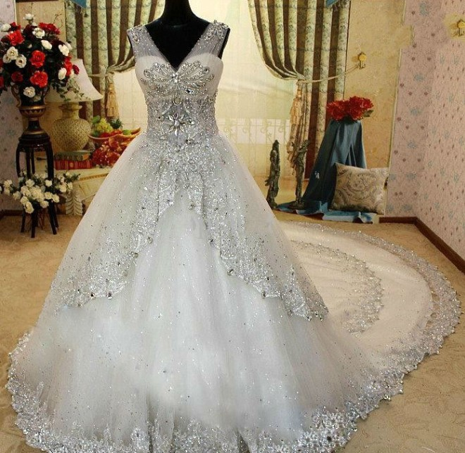 RE15 High quality Crystal beaded with long train applique factory ...
