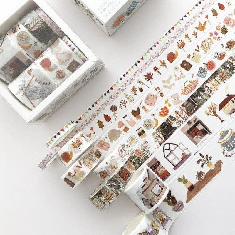 8 Pcs/pack Daily Life Girl Book Bullet Journal Washi Tape Set Adhesive Tape DIY Scrapbooking Sticker Label Masking