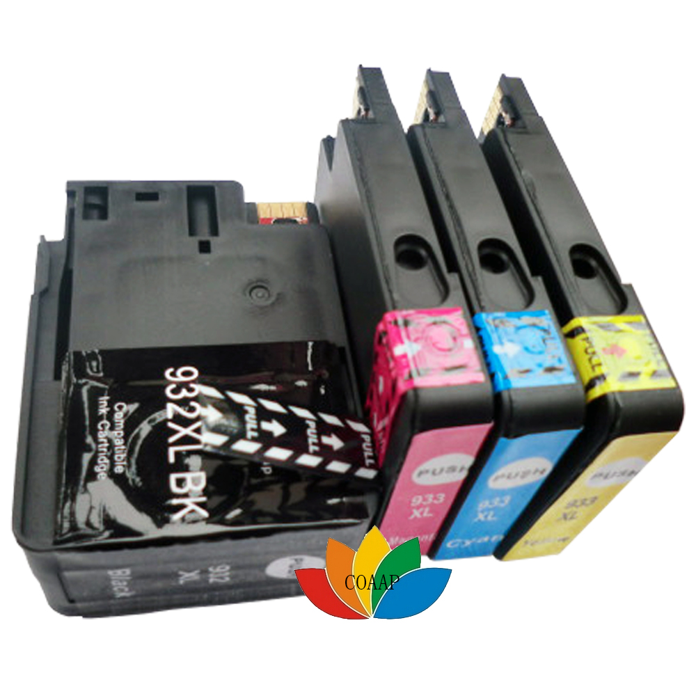 1 Set Compatible HP 932 933 XL Ink Cartridges for HP Officejet 6100 6600 6700 7110 7510 7610 7512 7612 Printer (with Chip) free shipping for hp 932 933 refillable ink cartridge with ink with permanent chips for hp officejet 6600 6700 ink jet printer