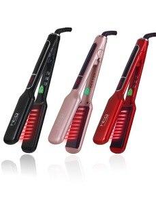 Htg profissional alisador de cabelo ferro liso com íon negativo infravermelho alisador cabelo placas largas ht087l