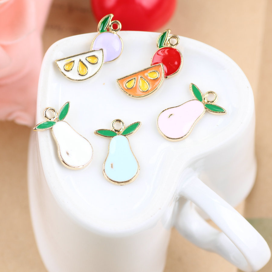 Free shipping Fruits Alloy drop oil gold-color metal Cartoon Pears/Watermelon charms diy earring/necklace/bracelet pendants