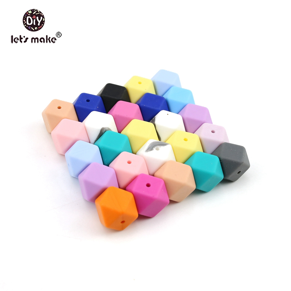 Let s Make Colorful Silicone Beads 17mm Geometric Octagon 300pc Silicone Teething DIY Crafts Nursing Necklace
